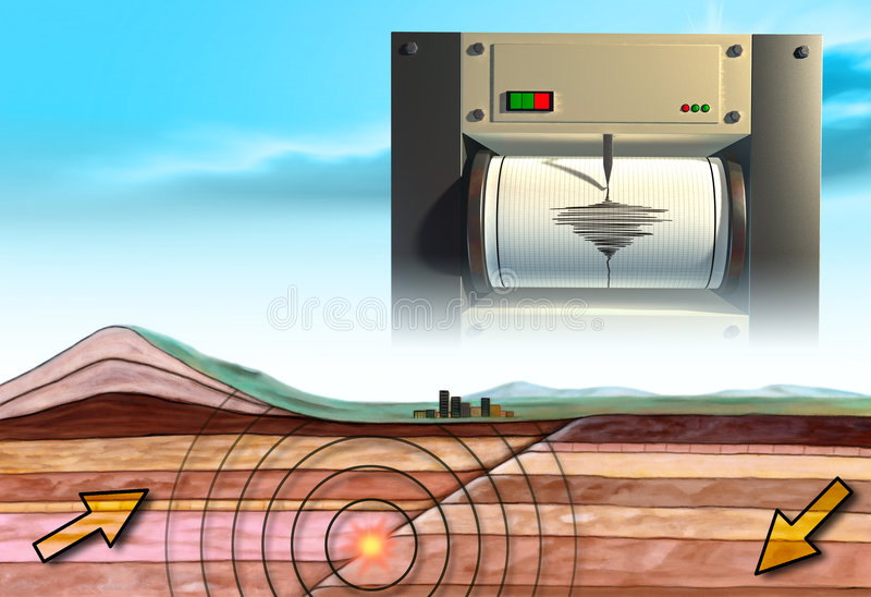 Earthquake. Schematic showing an earth cross-section and a seismograph. Digital illustration vector illustration