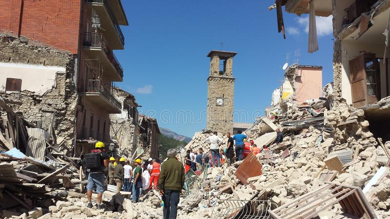 The earthquake in Amatrice stock photo