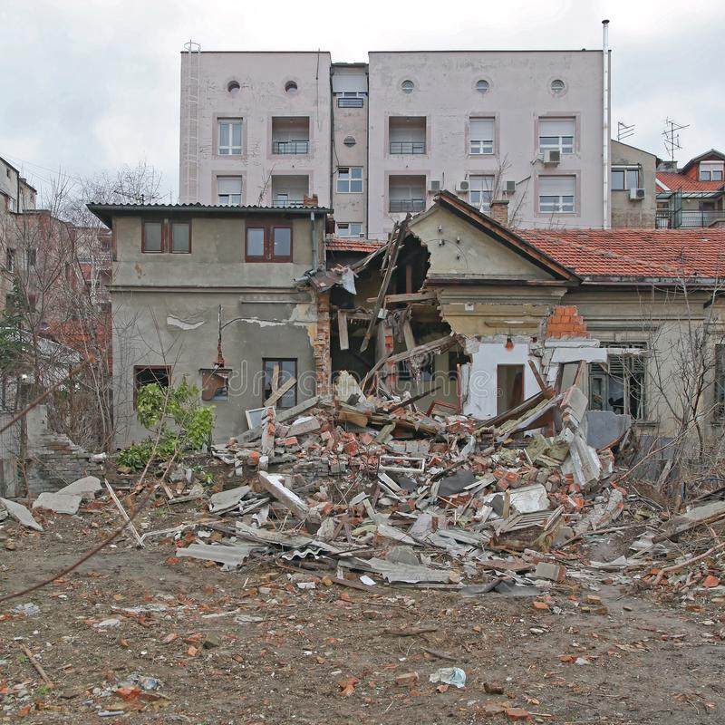 Earthquake Building stock image