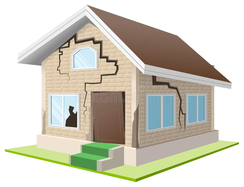 Earthquake cracked wall of house. Vacation home. Property insurance royalty free illustration