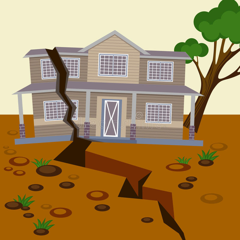 Earthquake damaged house and ground splitted in two parts. Natural disaster destroyed environment and residential building. Vector illustration of broken home royalty free illustration