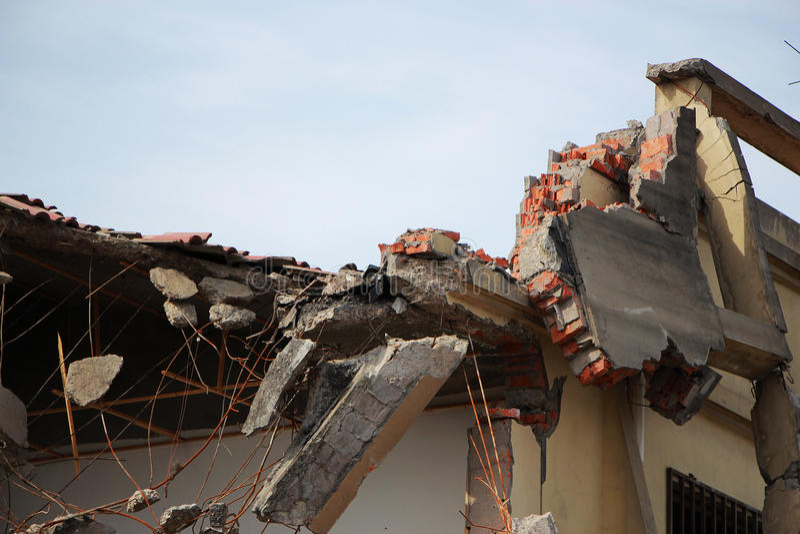 Earthquake destroy stock photography