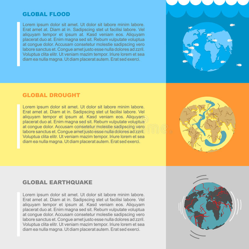 Earthquake, flood and drought. Natural disasters on planet Earth vector illustration
