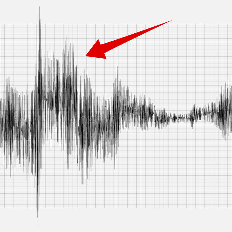 Earthquake on the graph of seismic activity. stock illustration
