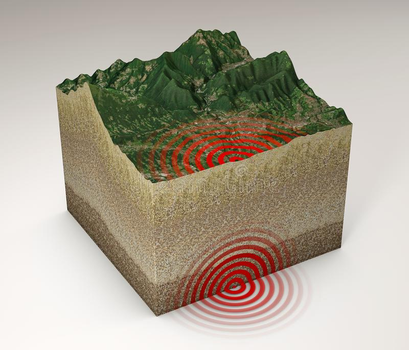 Earthquake ground section, shake, epicenter and subsoil. Elements of this image are furnished by NASA. 3d rendering. Mountains and reliefs 3d section vector illustration