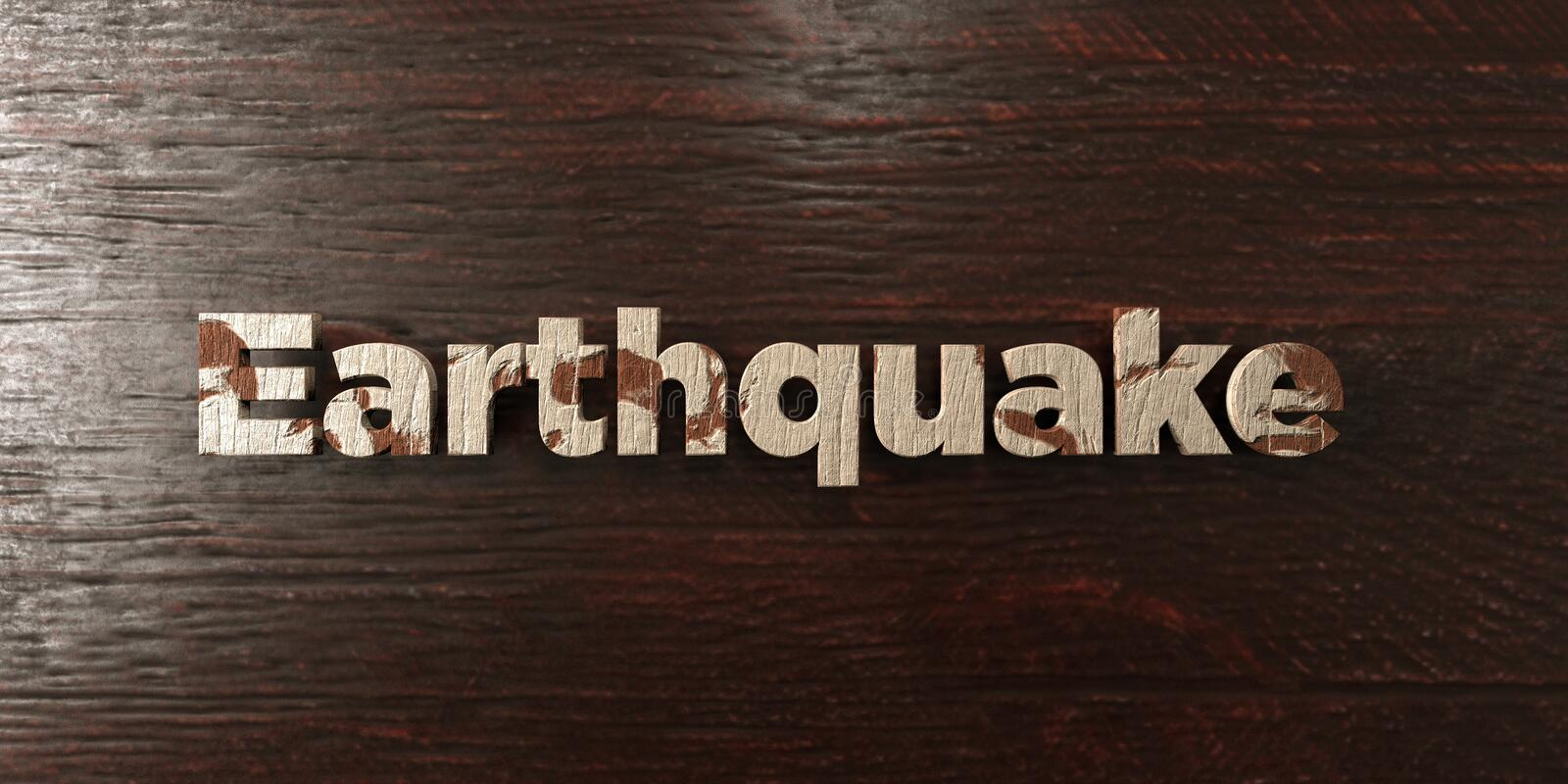 Earthquake - grungy wooden headline on Maple - 3D rendered royalty free stock image. This image can be used for an online website banner ad or a print postcard stock illustration