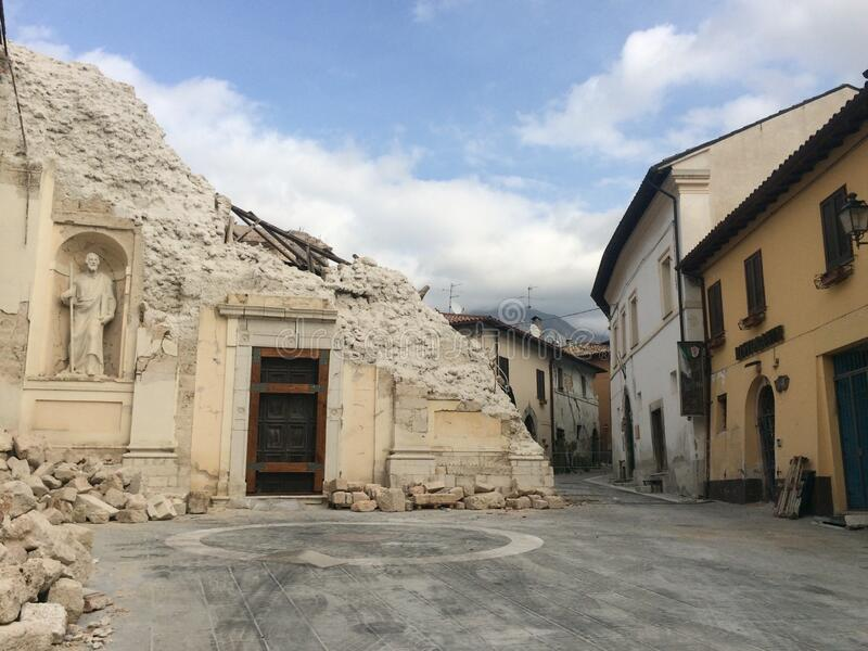 Norcia after earthquake, Italy. After the earthquake that hit the regions of central Italy in 2016, many countries were razed to the ground, others such as royalty free stock photo