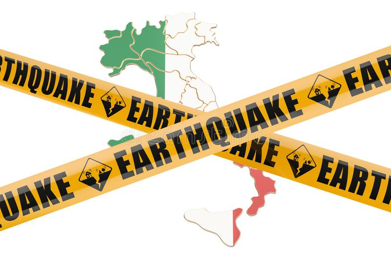 Italy Map Earthquake  Epicenter Recorded With A Seismic Mornitoring