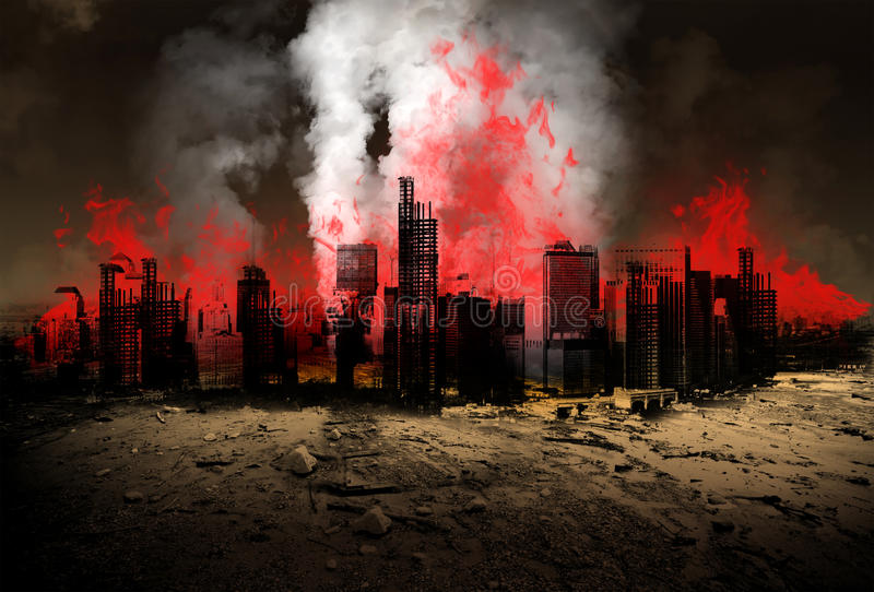 Earthquake, Natural Disaster, Apocalypse, Burning City. A modern city is burning after having an earthquake natural disaster stock photos