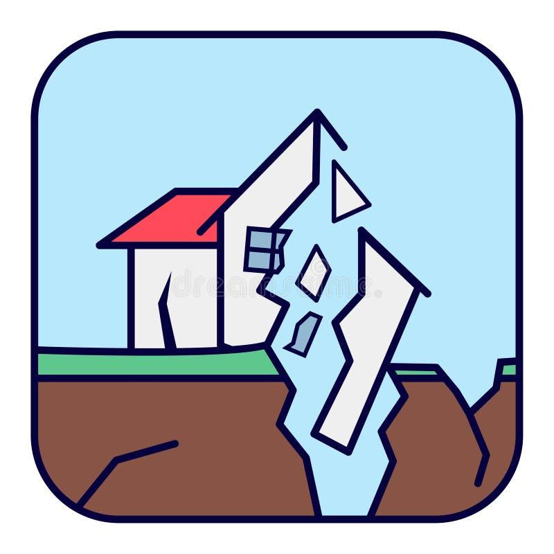 earthquake Rujnujący dom z pęknięciami i szkodą royalty ilustracja