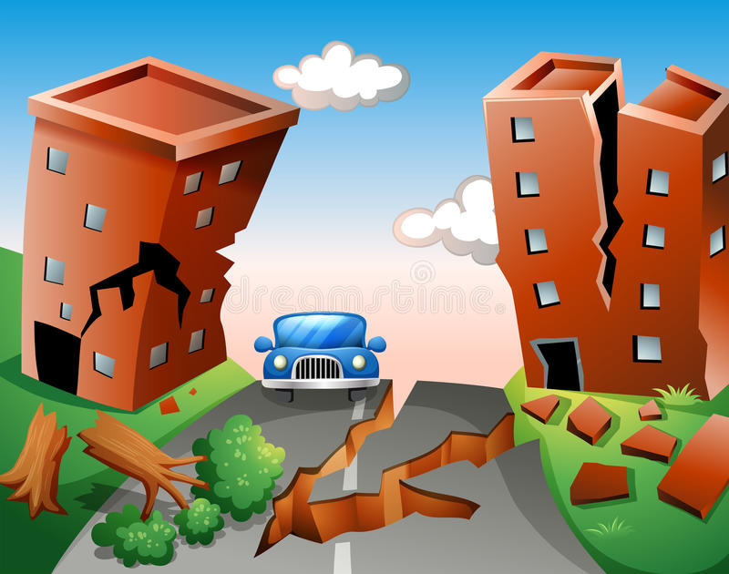 Earthquake scene at the town royalty free illustration