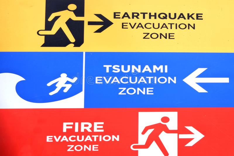 Earthquake, Tsunami and fire evacuation warning sign. Large information Earthquake, Tsunami and fire evacuation warning sign background royalty free stock images