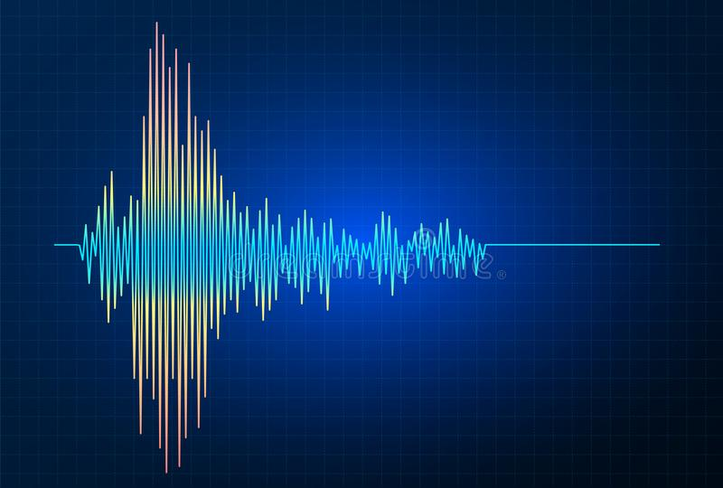 Earthquake vector frequency wave graph, seismic activity stock illustration