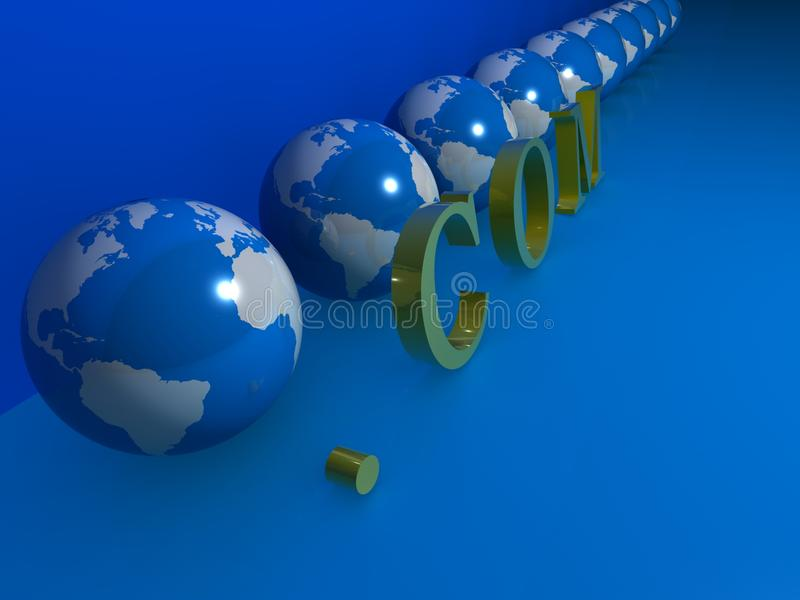 Earths and .com. Illustration of a row of Earths on blue with a .com on the diagonal royalty free illustration