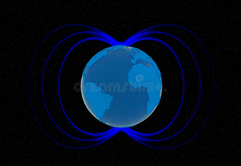 Earths magnetic field royalty free illustration