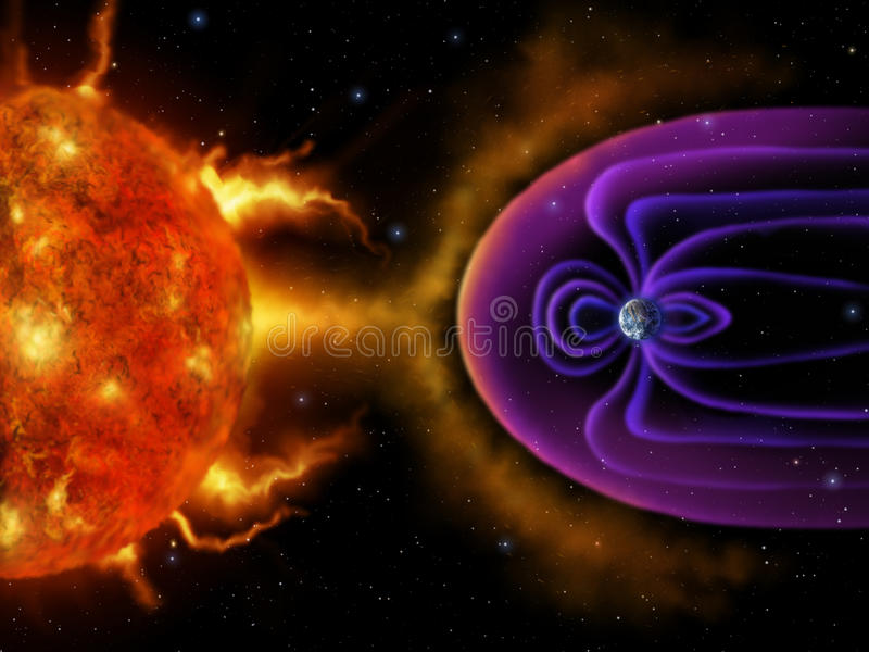 Earths Magnetosphere - Digital Painting vector illustration