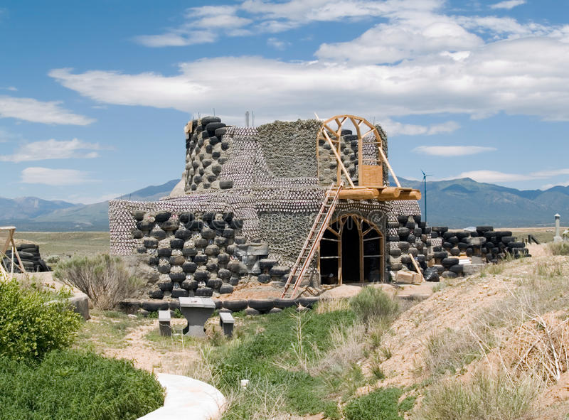 Earthship under construction stock image