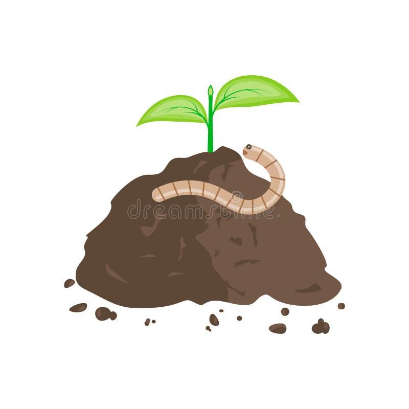 Earthworm i stos ziemia royalty ilustracja