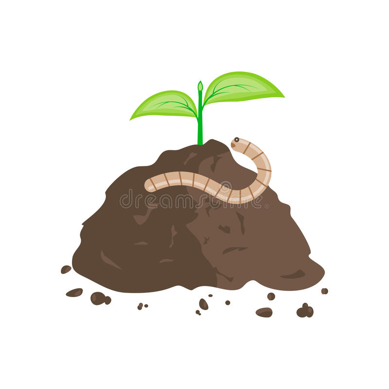 Earthworm and Pile of Ground royalty free illustration