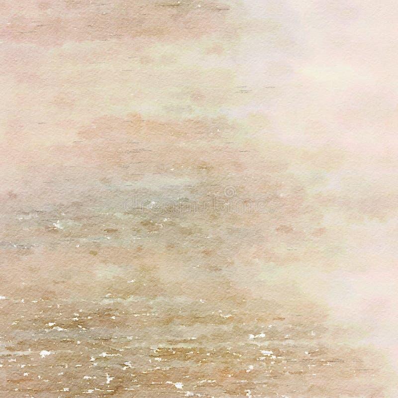 Earthy Grungy podławy modny akwareli tekstury tło royalty ilustracja