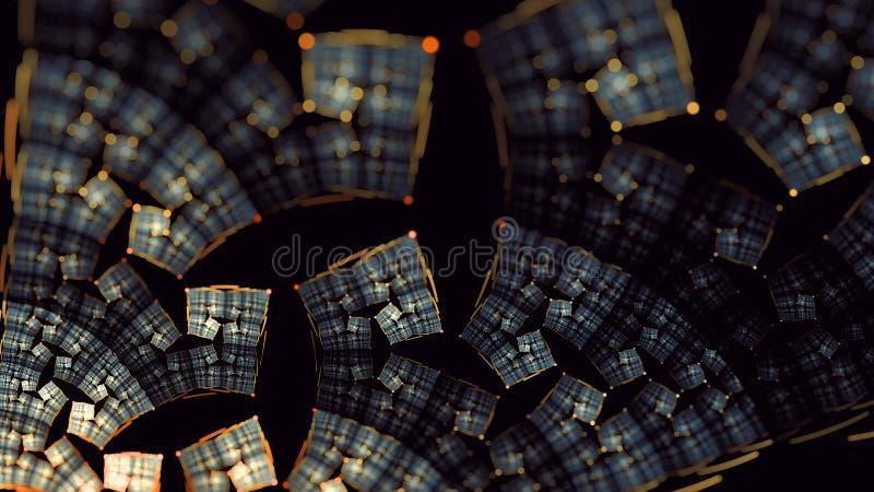 Earthy złocista glyn kwiatu płomienia fractal sztuki różnica 3 ilustracji