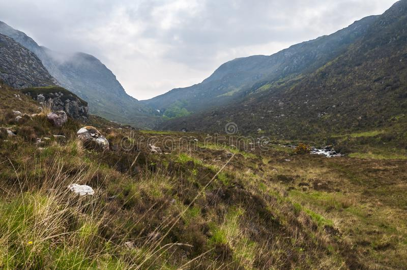 Eas Dubh. Looking towards the Eas Dubh Falls along the Inverianve river and glen in Wester Ross, Scotland royalty free stock image