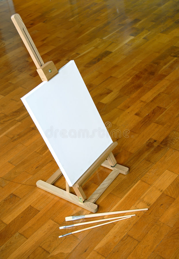 Download Easel with blank canvas stock photo. Image of desk, colors - 7893992