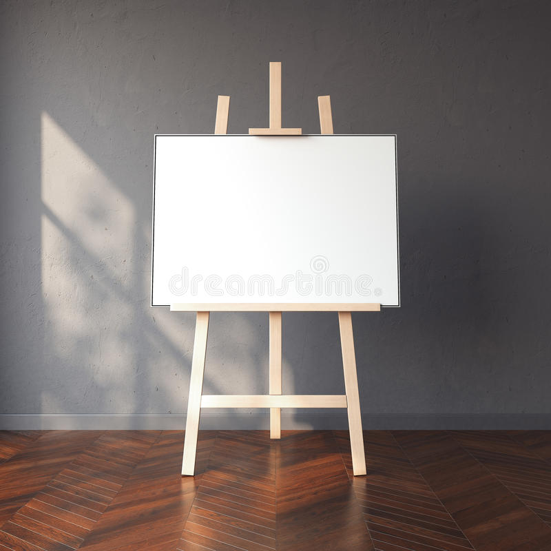Easel and blank white canvas in bright interior. 3d rendering stock images