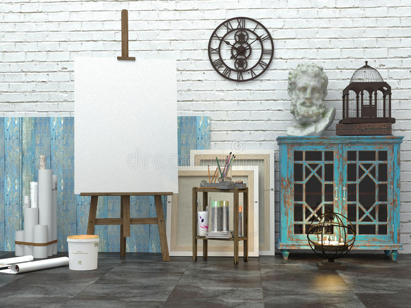 Easel with blank white canvas in the loft interior, 3d illustration of the artist`s studio stock illustration