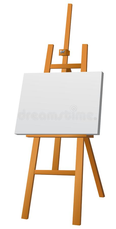 Easel with canvas. Illustration of wood easel with canvas