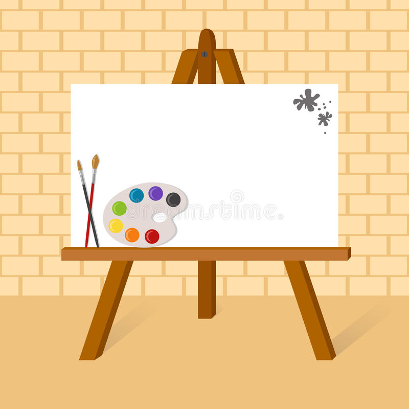 Easel with canvas royalty free illustration