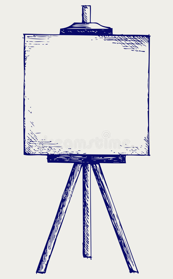 Easel with empty canvas. Doodle style royalty free illustration