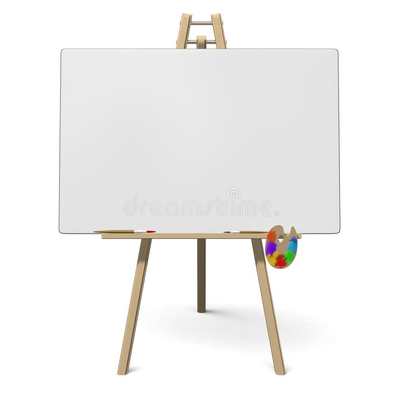 Easel with empty canvas royalty free illustration