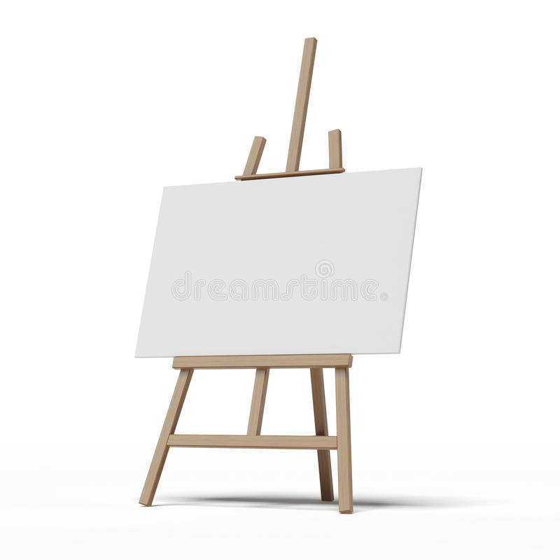 Easel with empty canvas. Isolated on a white background vector illustration