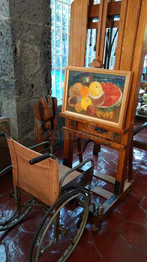Easel at Frida Kahlo`s house royalty free stock photos