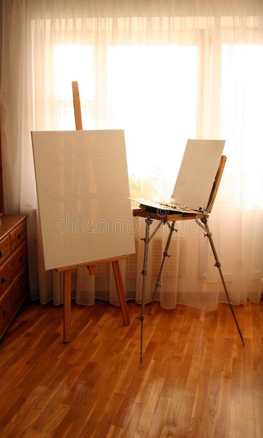 Easel In Interior Royalty Free Stock Photo