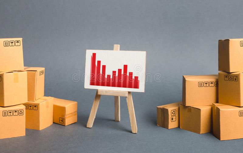 Easel with a negative trend in the middle of piles of cardboard boxes. Decrease in import export, drop in production and sales. Niches in the market and high stock photography