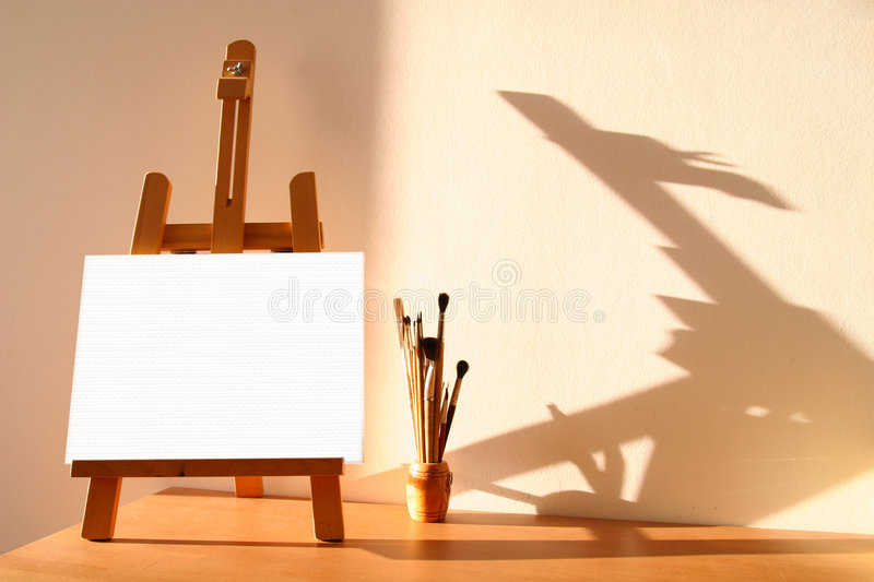 Easel with painting vector illustration