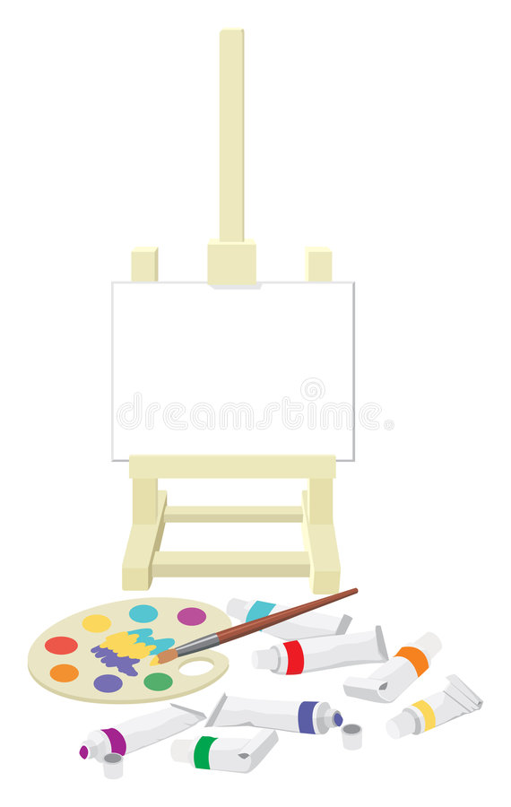 Free Easel, Palette And Paints Royalty Free Stock Photography - 4668867