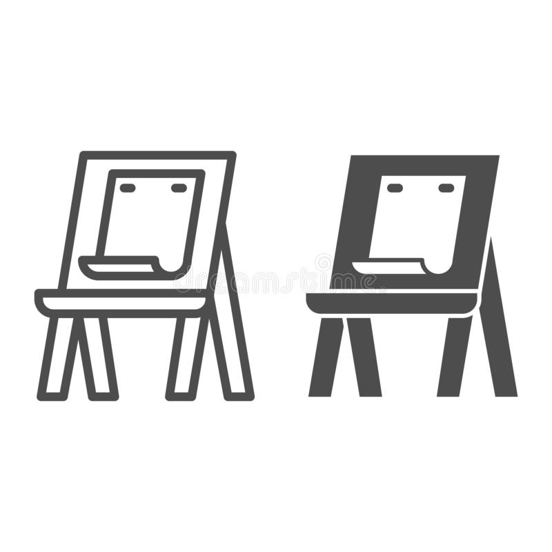 Easel with paper line and glyph icon. Art equipment vector illustration isolated on white. Artists easel outline style. Design, designed for web and app. Eps 10 vector illustration