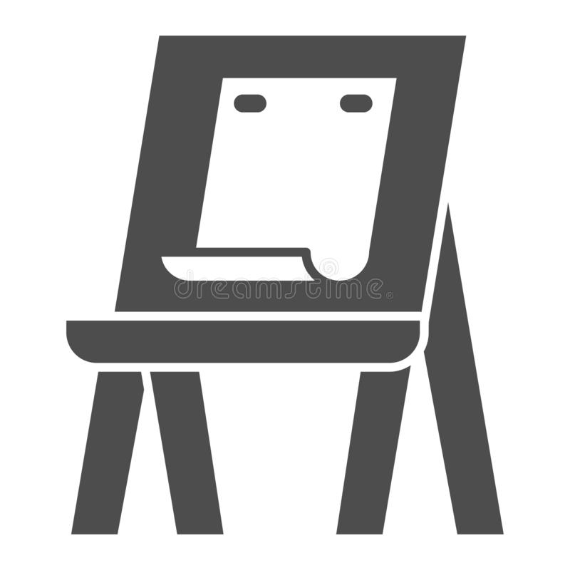 Easel with paper solid icon. Art equipment vector illustration isolated on white. Artists easel glyph style design. Designed for web and app. Eps 10 royalty free illustration