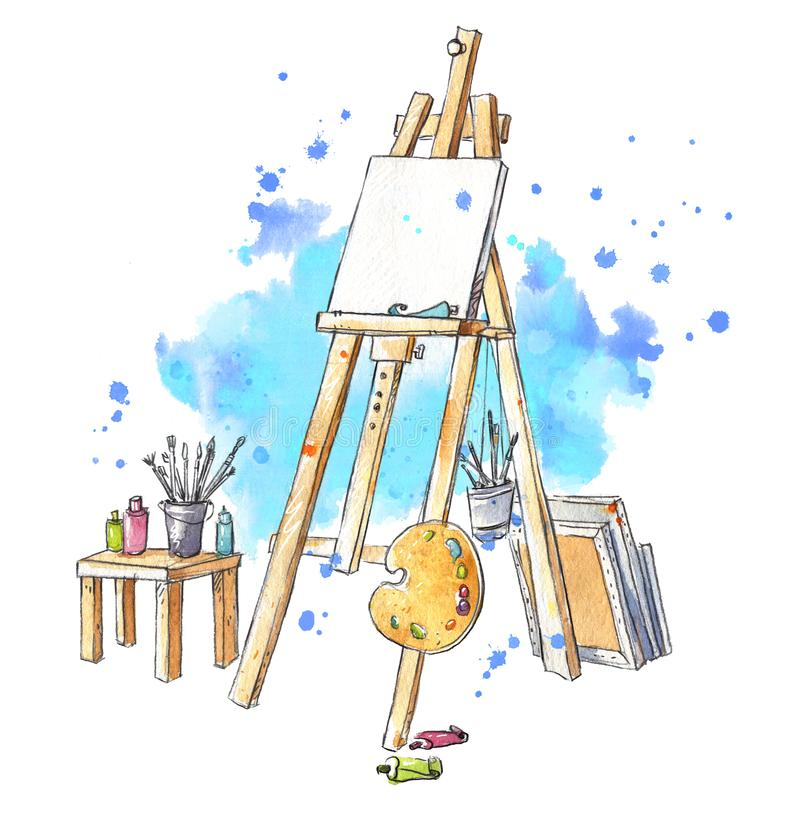 Easel Watercolor στο στούντιο, εργασιακός χώρος του καλλιτέχνη διανυσματική απεικόνιση