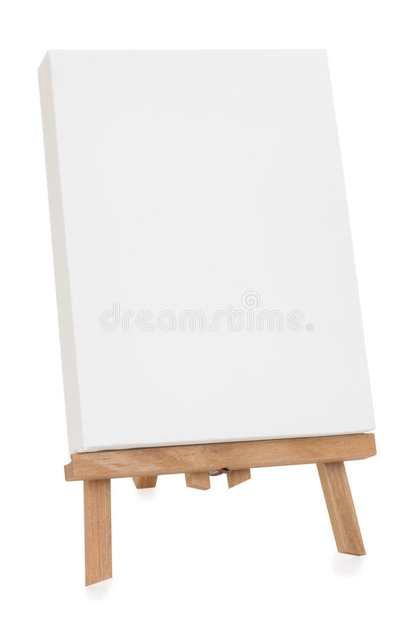 Easel. With white canvas - isolated stock images