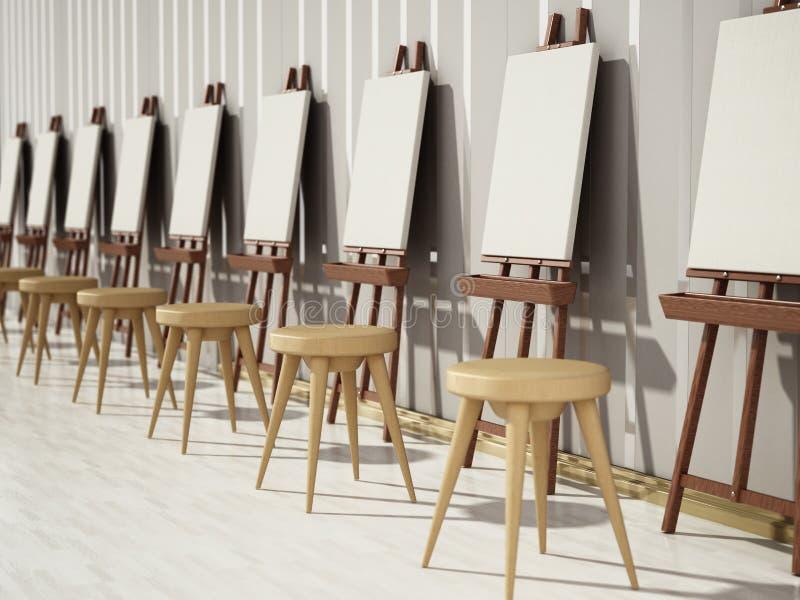 Easels και κενά canvases που στέκονται σε μια σειρά τρισδιάστατη απεικόνιση απεικόνιση αποθεμάτων