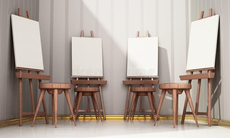 Easels και κενά canvases που στέκονται σε μια σειρά τρισδιάστατη απεικόνιση διανυσματική απεικόνιση