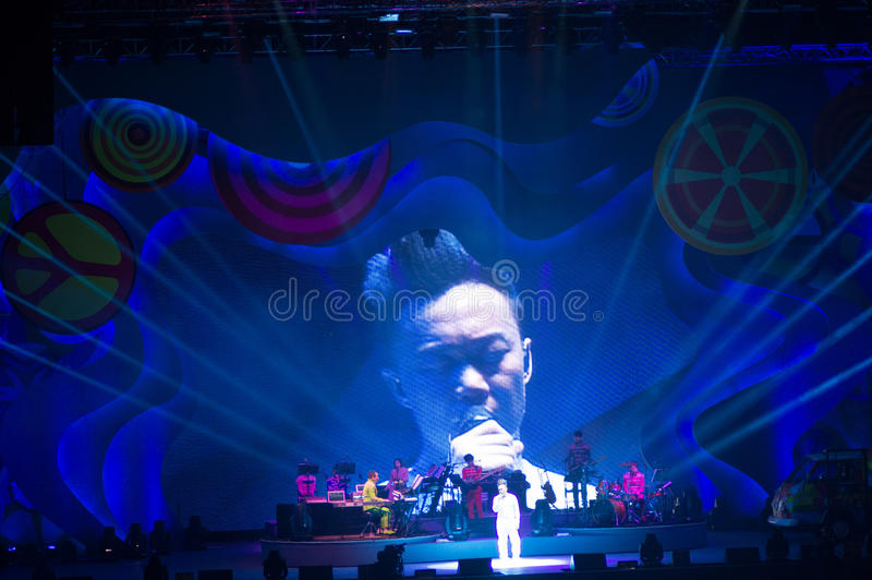 Eason Chan Szanghaj show na żywo zdjęcie royalty free