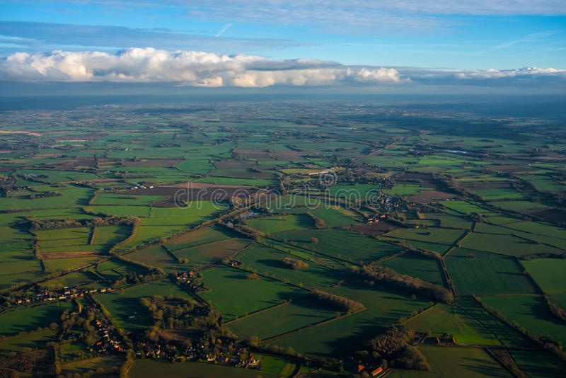 East Anglia from above. Aerial view of East Anglia´s landscape with its meadows and fields on a beautiful winter afternoon stock images