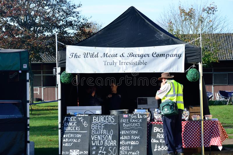 East Anglia Equestrian Fair Outdoor Burger stand with real meat stock photos