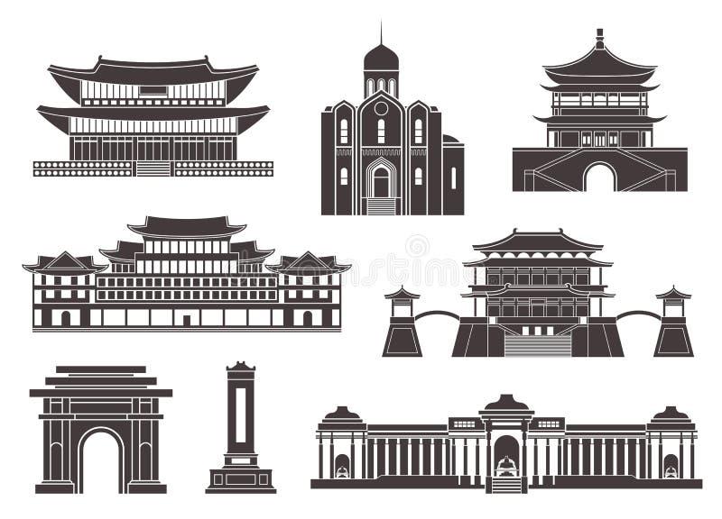 East Asia Isolerade asiatiska byggnader på vit bakgrund vektor illustrationer