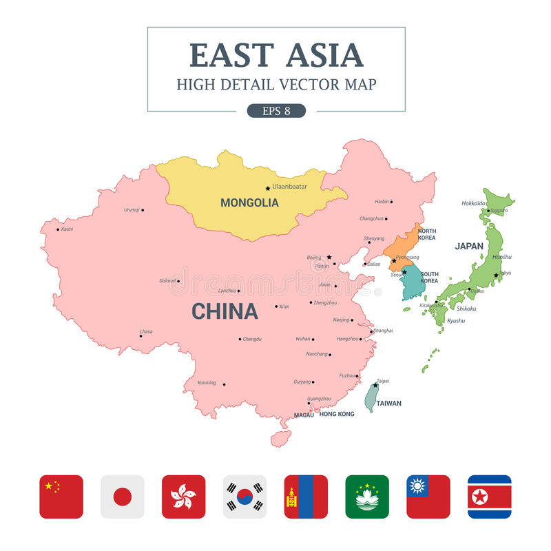 download east asia map full color high detail separated all countries stock vector illustration of